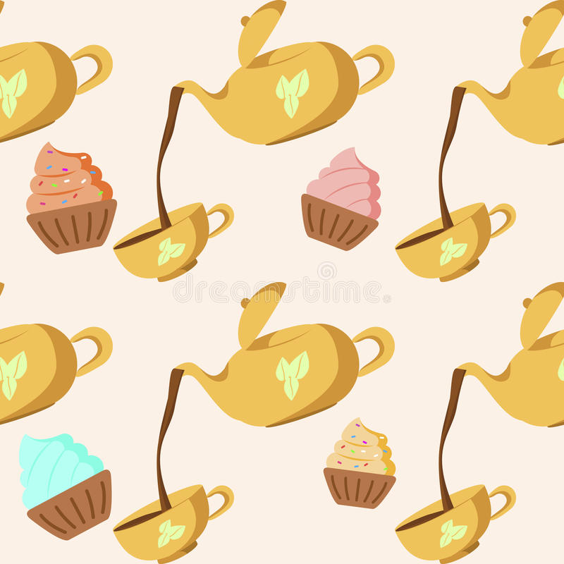 Download Tea seamless pattern stock vector. Image of cake, holidays - 31469171