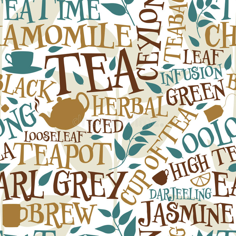 Tea seamless tile. Vector seamless tile of tea words and symbols royalty free illustration