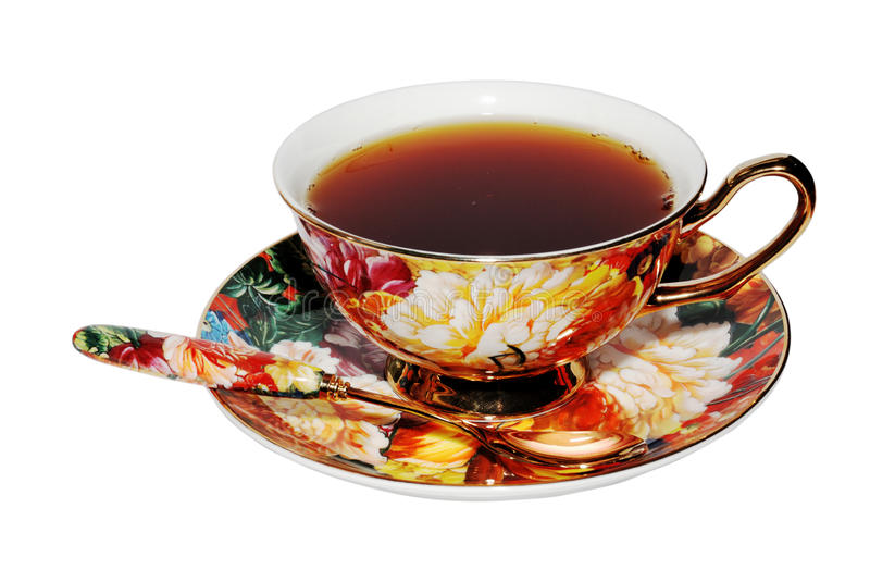 Tea served in a beautiful cup. Tea served in a beautiful china cup stock image