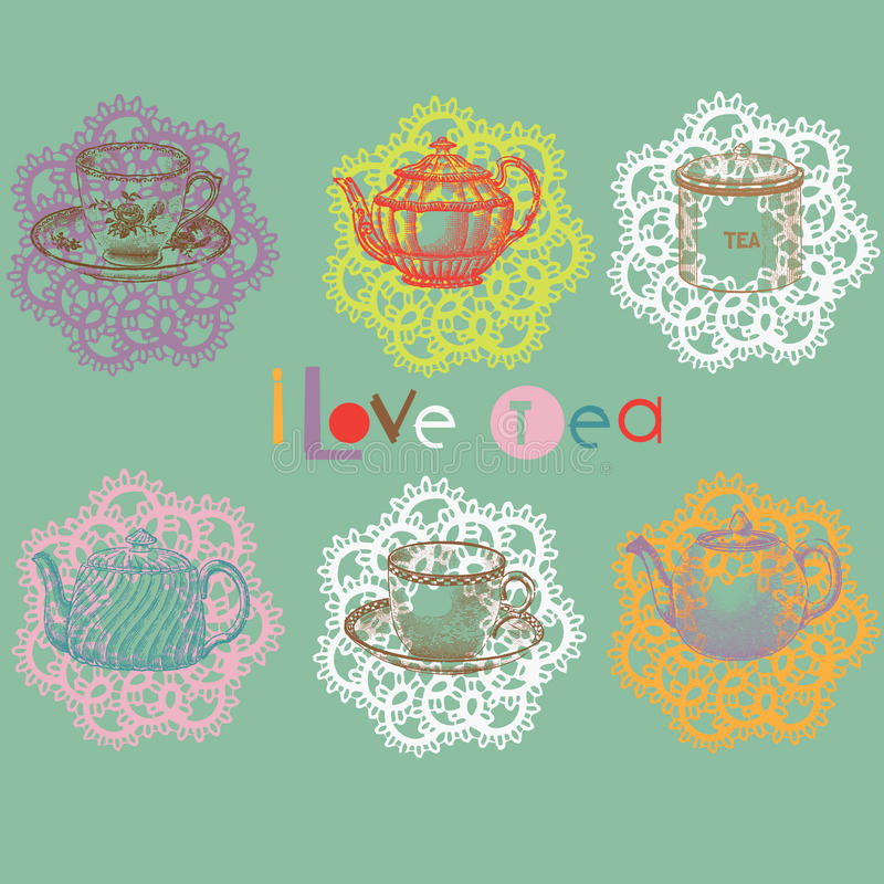 Download Tea set stock vector. Image of coffee, cubes, flowers - 16097061