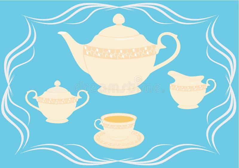 Download Tea set stock vector. Image of double, coffee, cream, kettle - 7876909