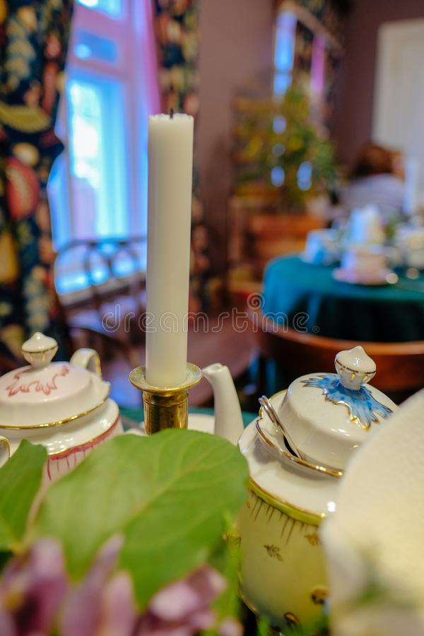 Tea set close-up on the table.  stock photography