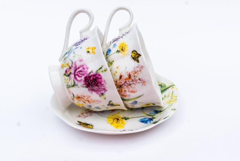 Tea set, coffee set, saucer, Cup, white background, kitchen utensil, kitchenware stock photo