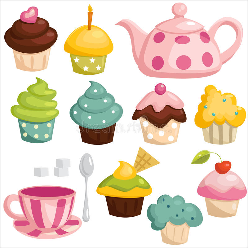 Download Tea set and cupcakes stock vector. Image of cupcake, spoon - 28250886