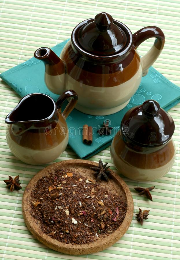 The tea set and the dry fruit tea royalty free stock images