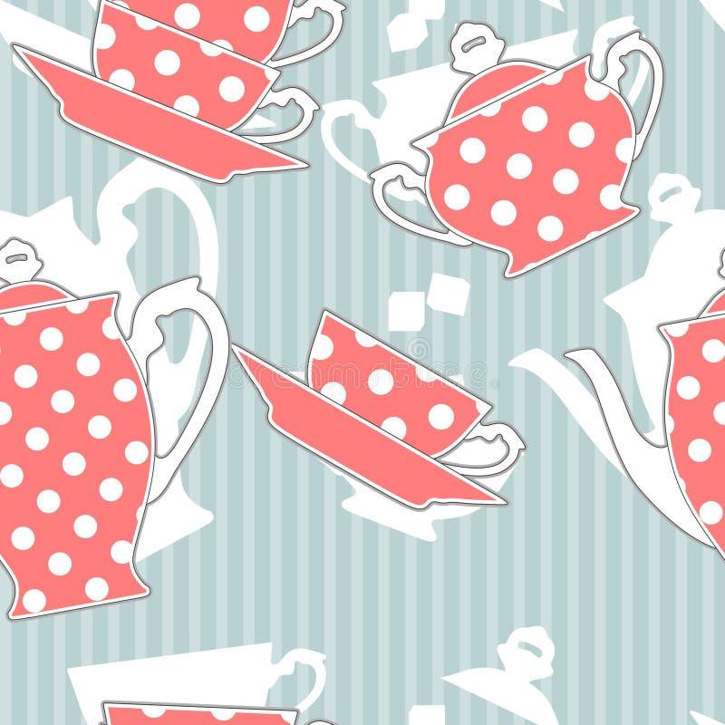Tea set, seamless pattern