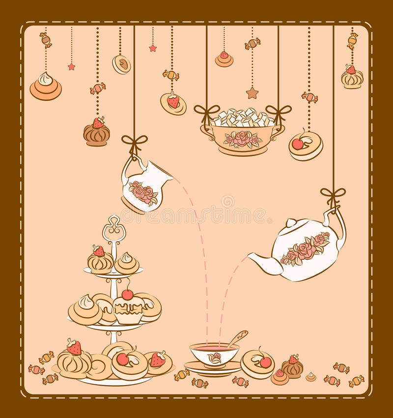 Tea set and sweet cakes. royalty free illustration
