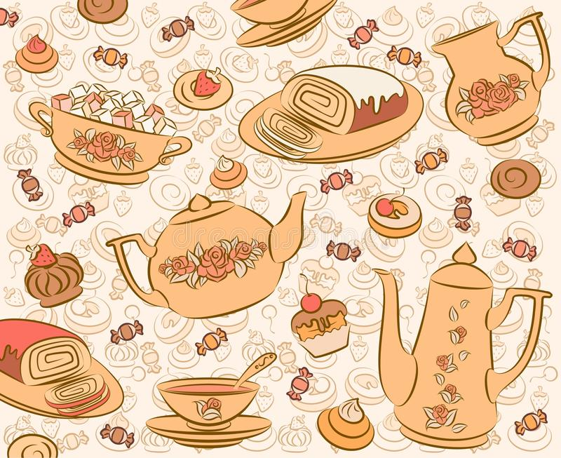 Tea set and sweet cakes. vector illustration