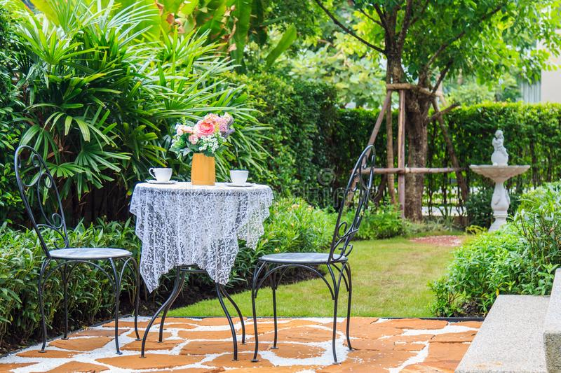 A Tea set on The Table in The Garden At Afternoon. royalty free stock photography