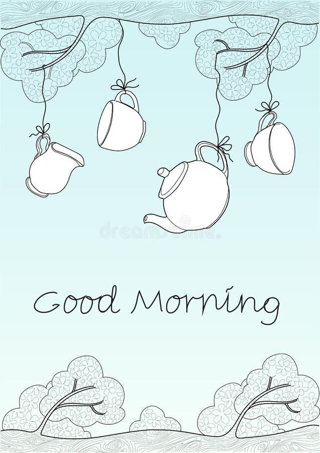 Tea set on tree royalty free illustration