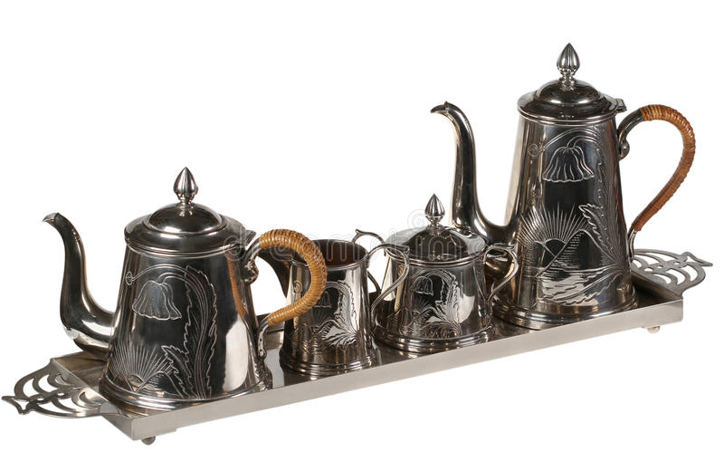 Tea set of ware. From cupronickel. Isolated royalty free stock images