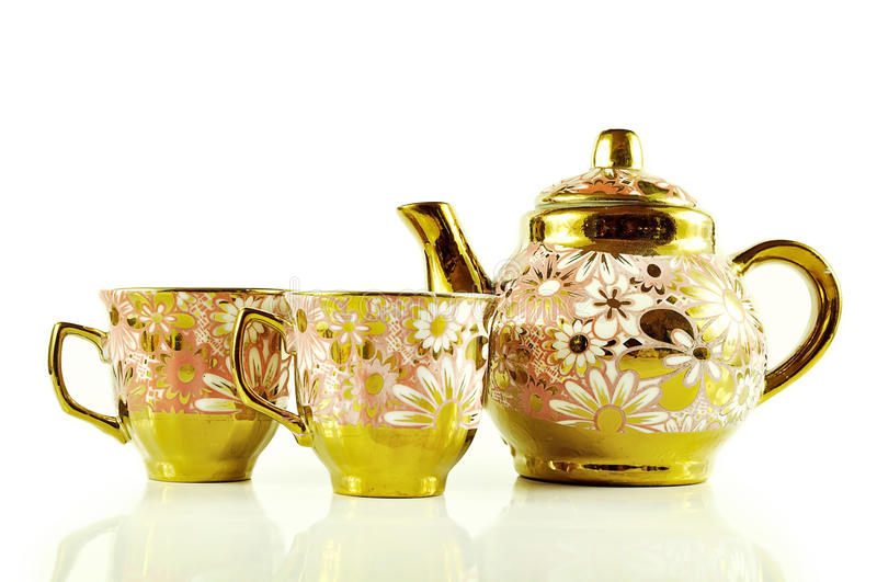Tea sets close up isolated on white background.  royalty free stock images