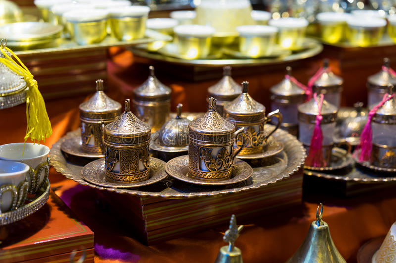 Tea sets in Grand Bazaar. In Istanbul,Turkey royalty free stock photography