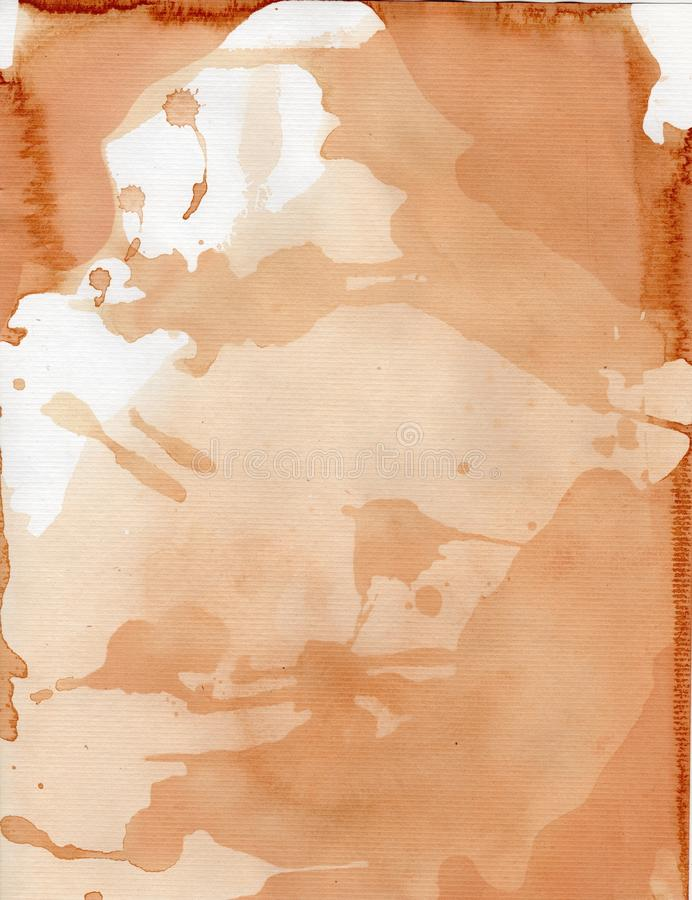 Tea Stained Splotchy Water Color Paper royalty free stock image