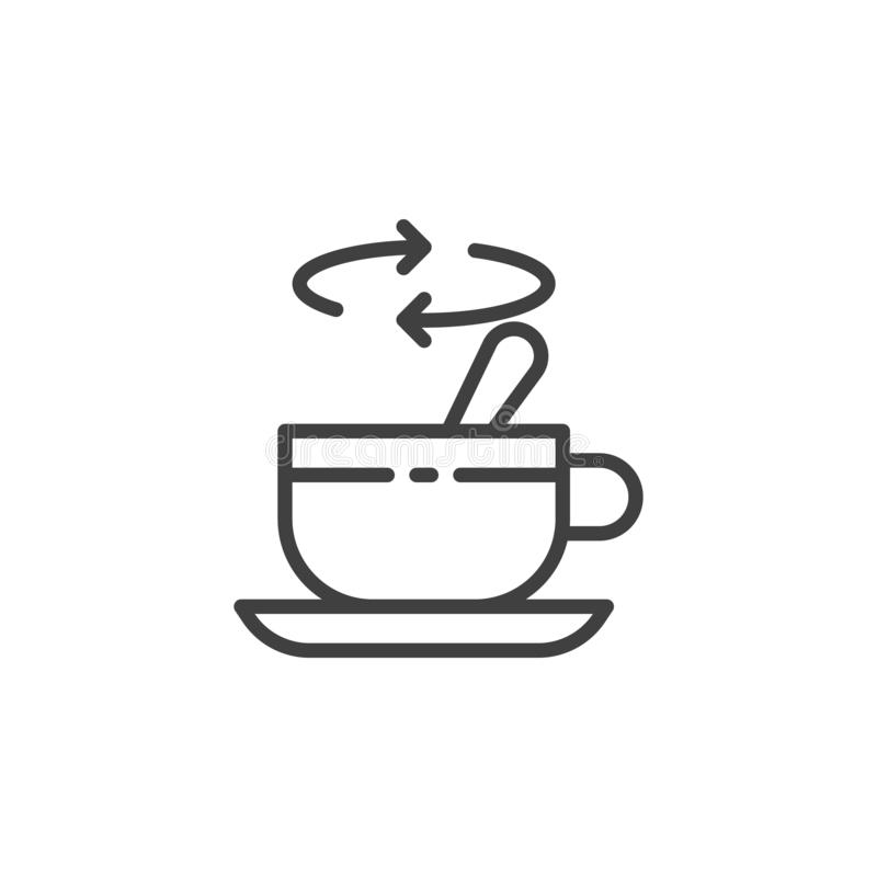 Tea stirring with spoon line icon. Linear style sign for mobile concept and web design. Cup of tea with spoon stir sugar outline vector icon. Symbol, logo vector illustration