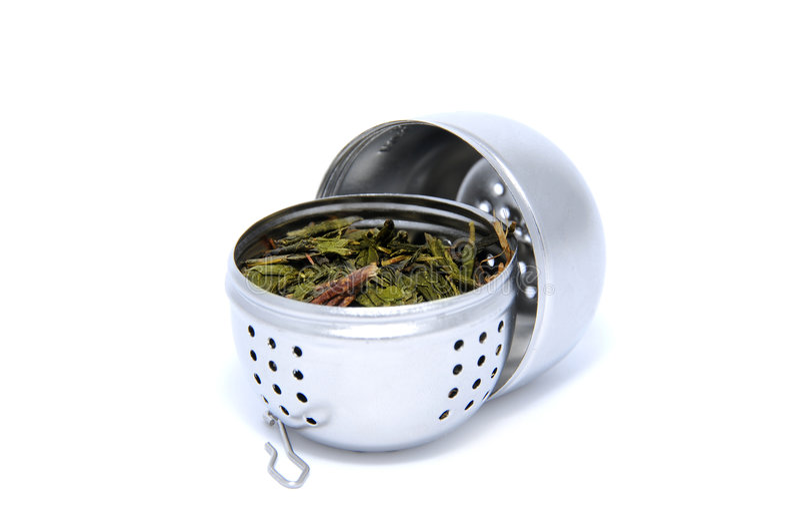 Tea strainer loaded stock image