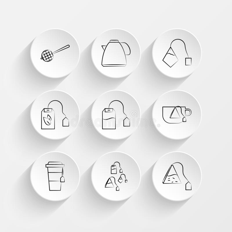 Tea, strainer, Tea, teapot, Tea bag and Tea bag icons on plate illustration set vector illustration