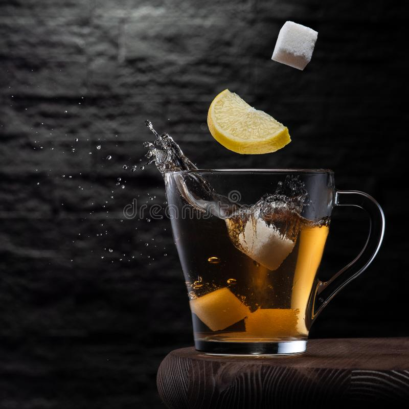 Tea with sugar and lemon royalty free stock photo
