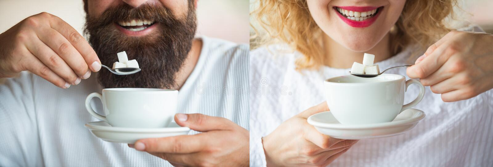Tea. Sugar. A young couple is drinking coffee or tea with sugar. Man and woman. Smile. Collage. Set of photos of a girl stock photos
