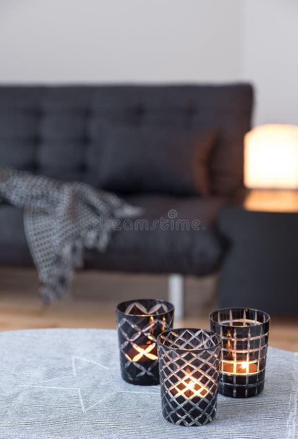 Tea-tänder dekorera vardagsrum med grå färgsofaen royaltyfri bild