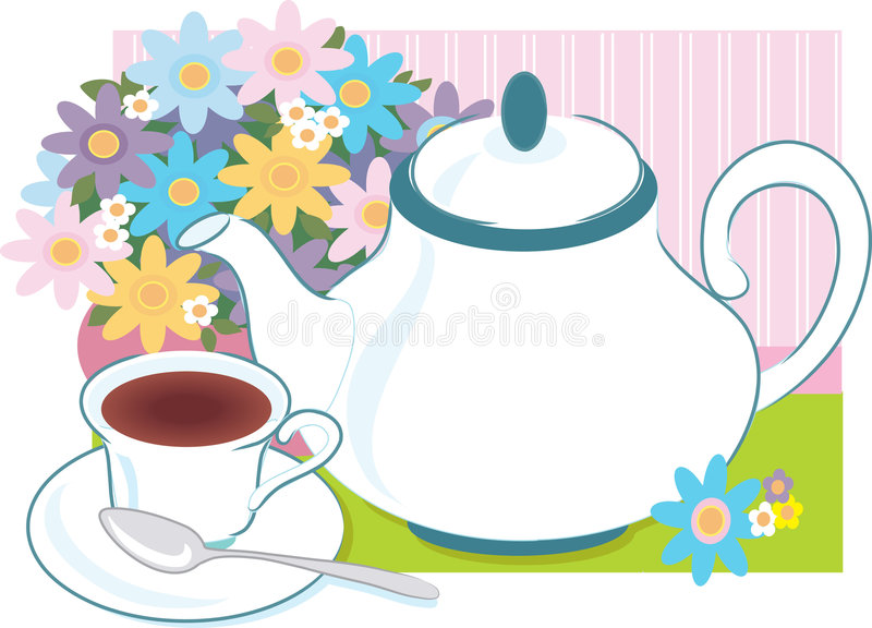 Tea Time. Teapot and teacup with a vase of flowers royalty free illustration