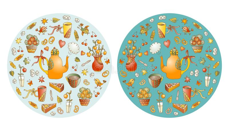 Tea time. Beautiful round shapes made of cute hand drawn elements for tea party. Teapots, cups, vases with flowers and birds. Vector illustration of circle vector illustration