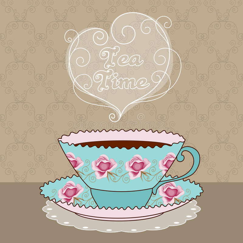 Tea time card. Hand drawn illustration of vintage tea cup with coffee or tea. Tea time text message. Greeting card or party invitation template stock illustration