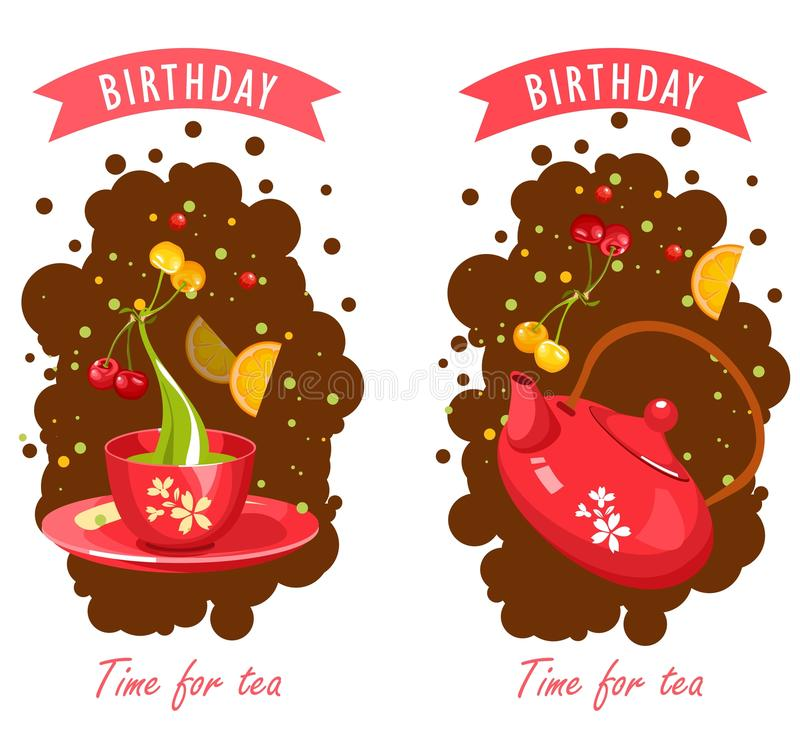 Tea time card. Vector illustration of a tea party set of two cards with a cup of tea and, perfect for an invitation. business cards, flyers royalty free illustration