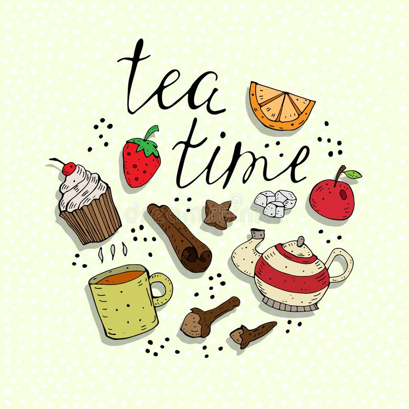 Tea time. Cartoon colorful vector illustration with teapot, cupcake, cup, fruit, spices, the inscription on a neutral background. vector illustration