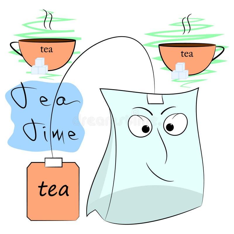Tea time cartoon poster royalty free illustration