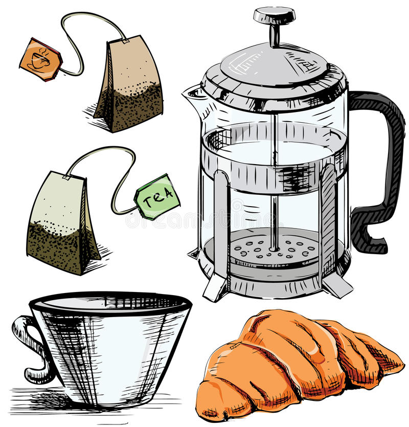 Tea time colorful collection royalty free illustration