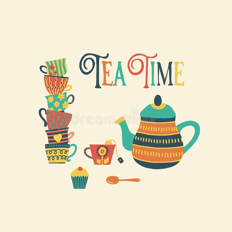 Tea time hand drawn vector illustration with stacked colorful tea cups, teapot, spoon, cupcake and Tea Time quote. Retro vintage. Style. Cute Tea time party royalty free illustration