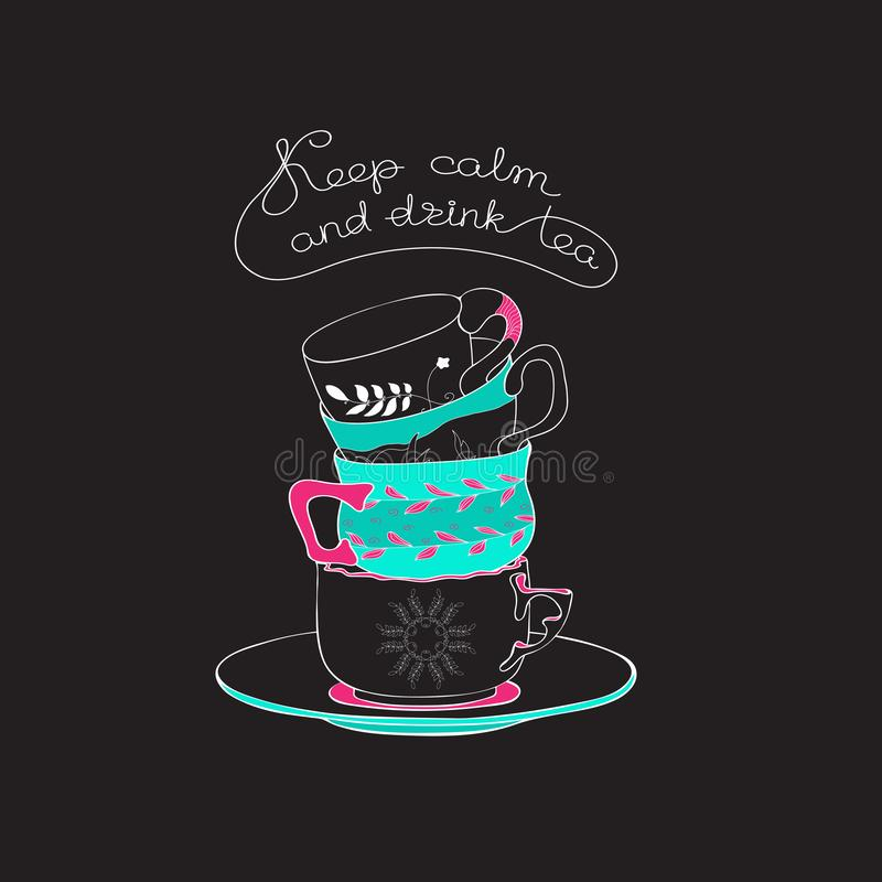 Tea time hand drawn vector illustration with stacked tea cups. stock illustration