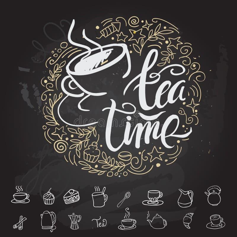 Tea time Hipster Vintage Stylized Lettering. Vector Illustration vector illustration
