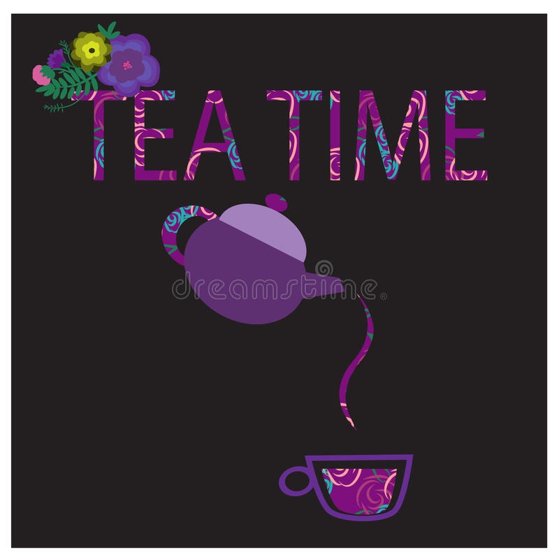 Tea time. Illustratoin with teapot, cup of tea and text Tea time royalty free illustration