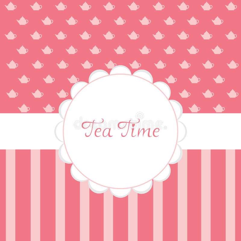 Tea Time invitation. Tea Time - tea party invitation with pink background vector illustration