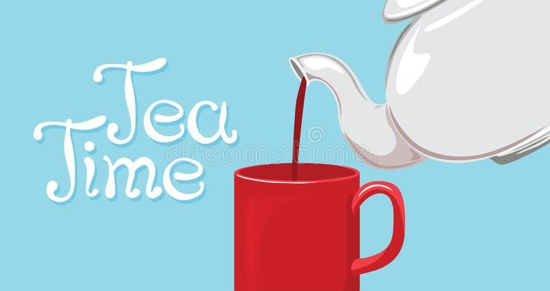 Tea time lettering. Banner with white teapot, red cup of tea and hand drawn text. Vector illustration in cartoon flat style royalty free illustration