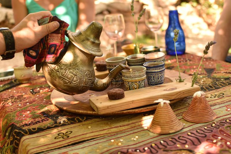 Tea Time in the Middle East stock image