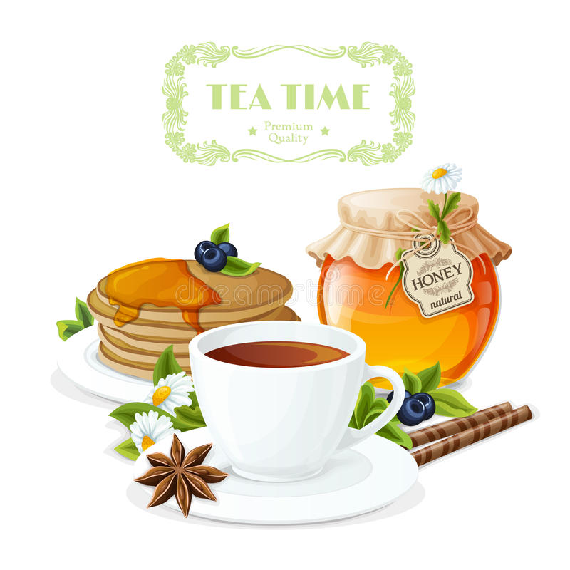 Tea time poster. With cup and saucer honey jar and pancakes plate vector illustration royalty free illustration