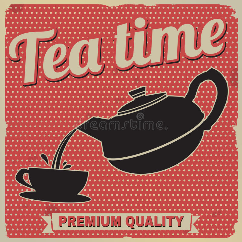 Tea time retro poster vector illustration