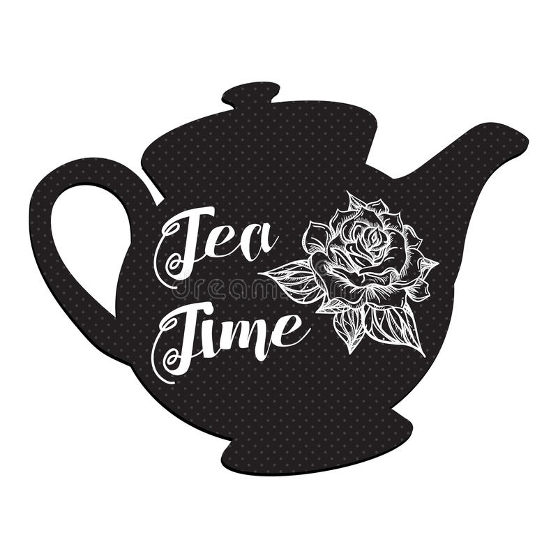 Tea Time with rose. Tea Time and Tea Set in vintage style. Traditional english tea with floral dishware from rose. Vector stock illustration