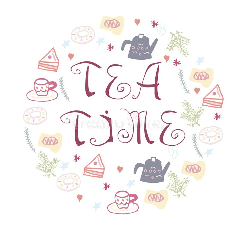 Tea time symbols in circle form. Vector illustration. Handdrawn conceptual illustration of tea time concept - lettering and illustrations. Poster or t-shirt royalty free illustration