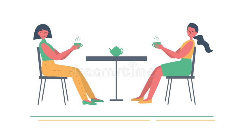 Tea time. Two girls are sitting at the table and drinking tea vector illustration