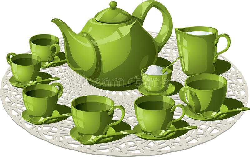 Tea Time. Vector illustration of a complete tea set. Teapot, six teacups and teaspoons, all arranged on a circular custom weave. Sugar and milk to taste. AI8 stock illustration