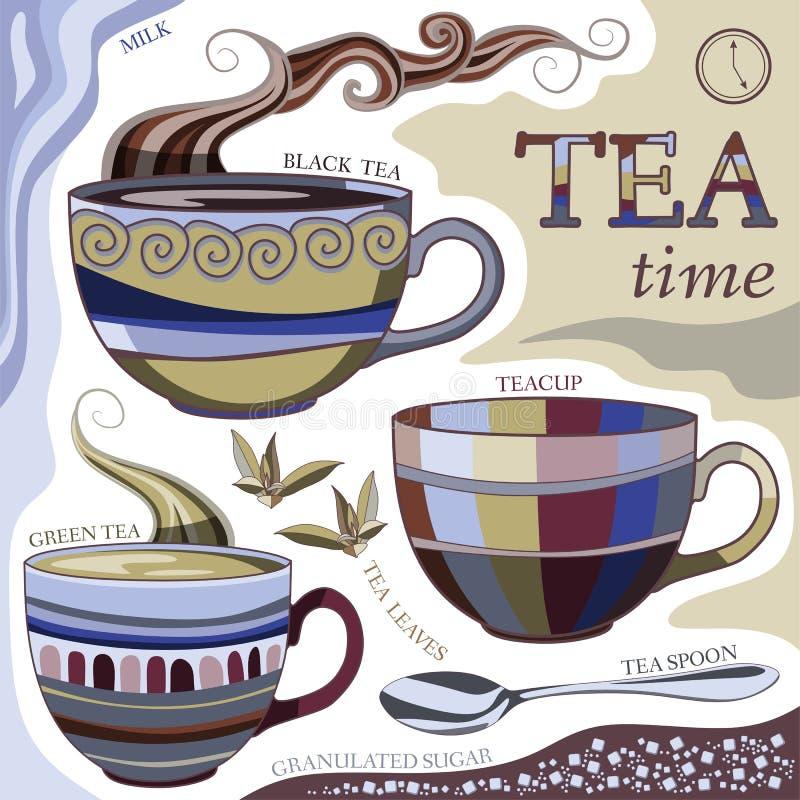 Tea time. Vector illustration with cups of aromatic tea. Tea spoon, tea leaves, milk and sugar stock illustration