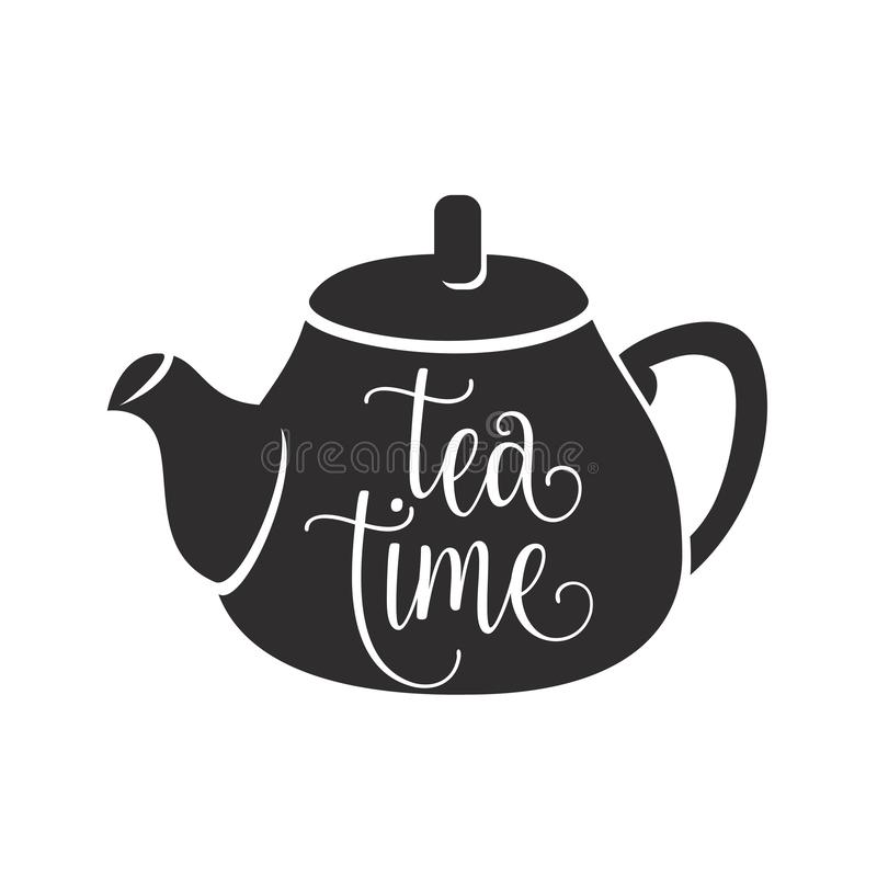 Tea time vector illustration with graphic black teapot and white lettering word sign on it surface stock illustration