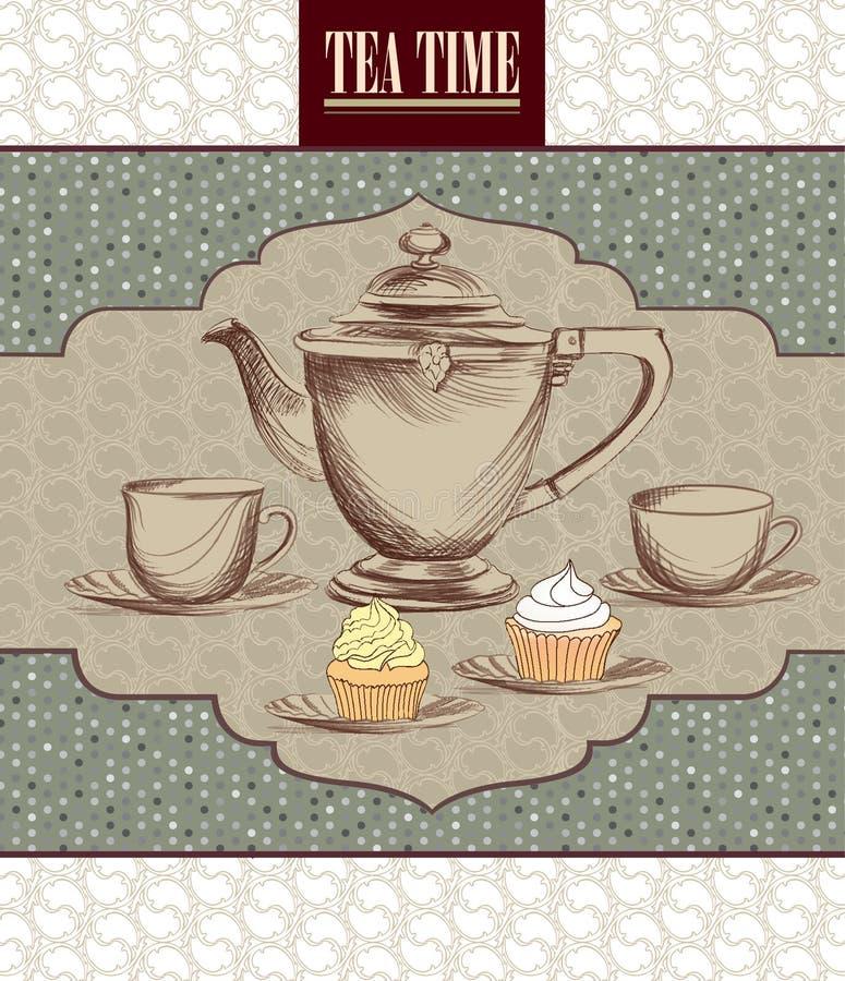 Tea Time Vintage Label. Vector Victorian Illustration Stock ...