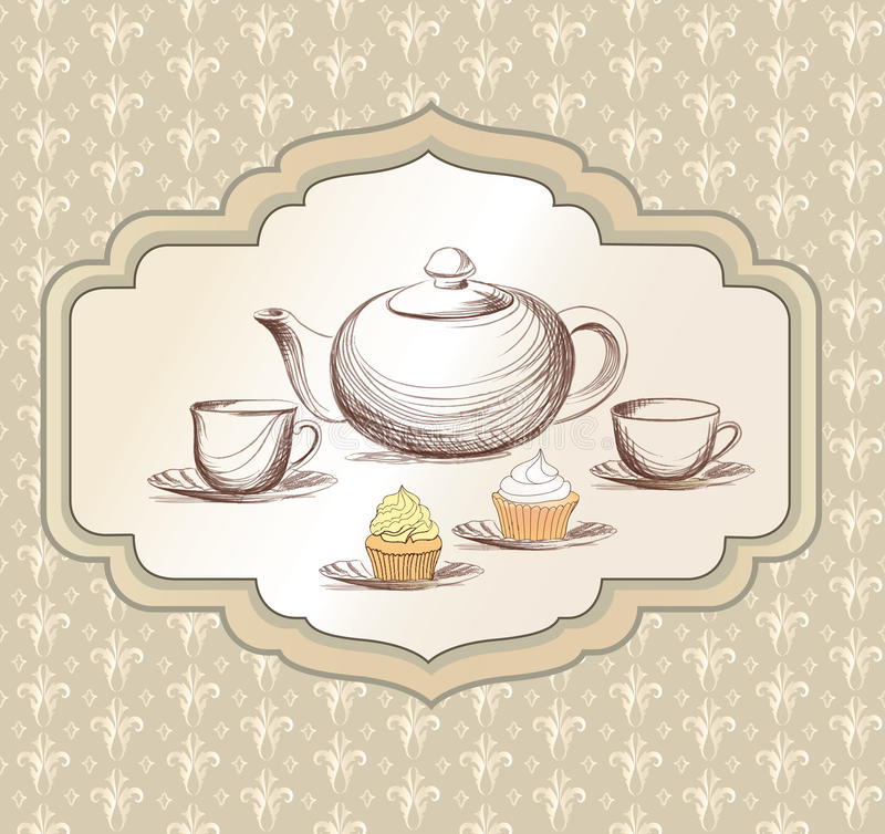 Tea Time Vintage Label. Vector Victorian Illustration Stock ...