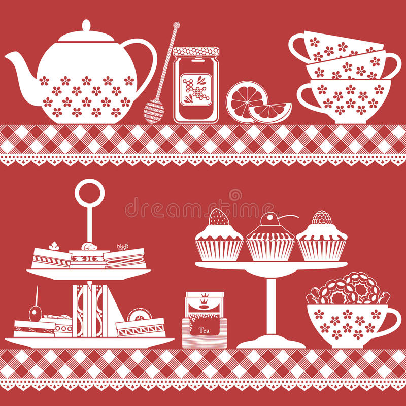 Free Tea Time With Finger Food Red And White Royalty Free Stock Image - 52181716