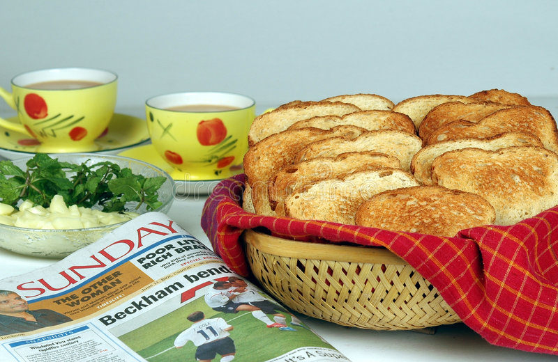 Download Tea, Toast And Sunday Paper Stock Photo - Image: 4340712